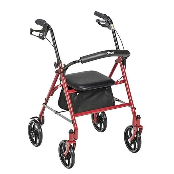Rollator with four wheels (7.5 casters) and a foldable back